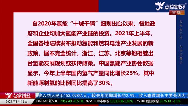 刘伟鹏:氢能源长期看好 短期注意轮动风险